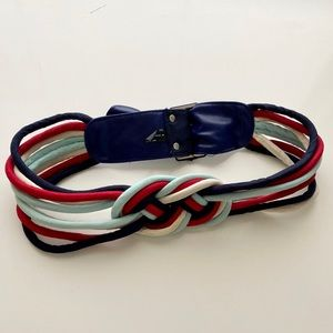 Red, white and blue knotted belt